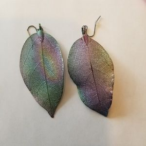 Multicolored metallic detailed leaf earrings.